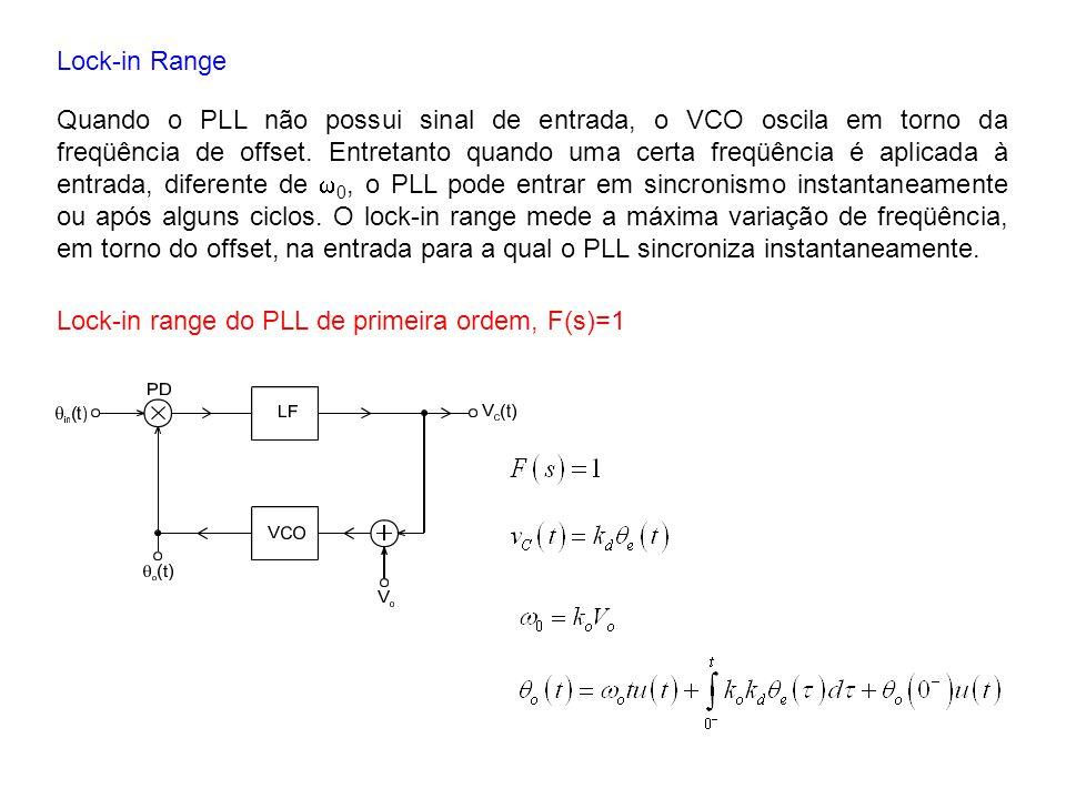 Lock-in Range Quando o PLL não possui sinal de entrada, o VCO oscila em torno da freqüência de offset. Entretanto quando uma certa freqüência é aplica