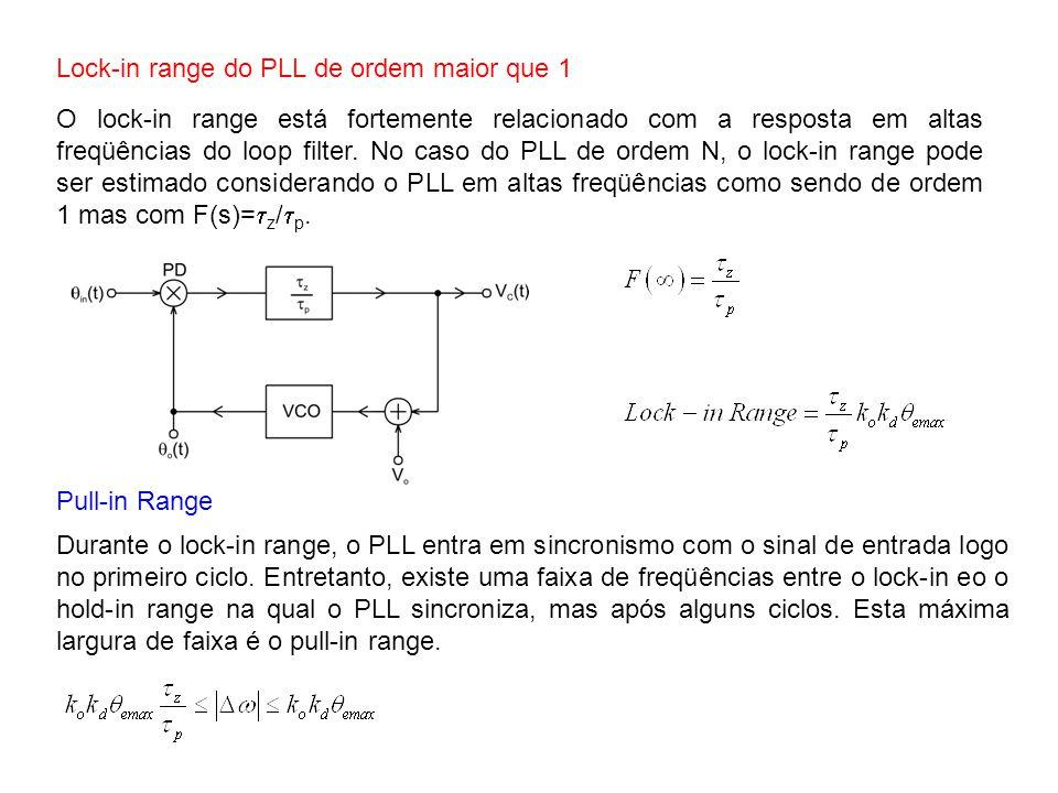 Lock-in range do PLL de ordem maior que 1 O lock-in range está fortemente relacionado com a resposta em altas freqüências do loop filter. No caso do P