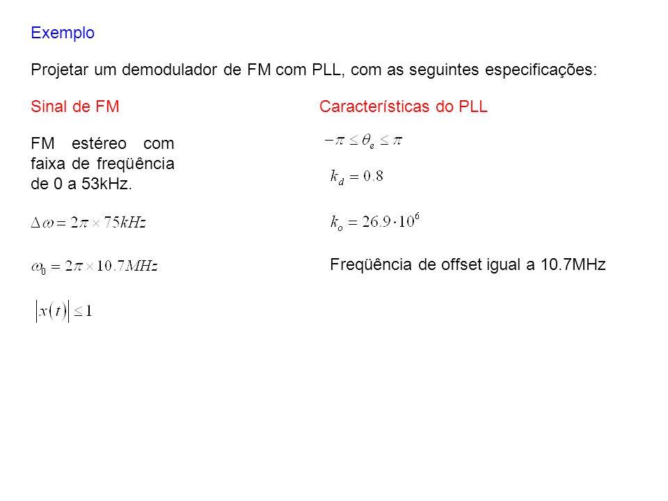 Exemplo Projetar um demodulador de FM com PLL, com as seguintes especificações: FM estéreo com faixa de freqüência de 0 a 53kHz. Sinal de FMCaracterís
