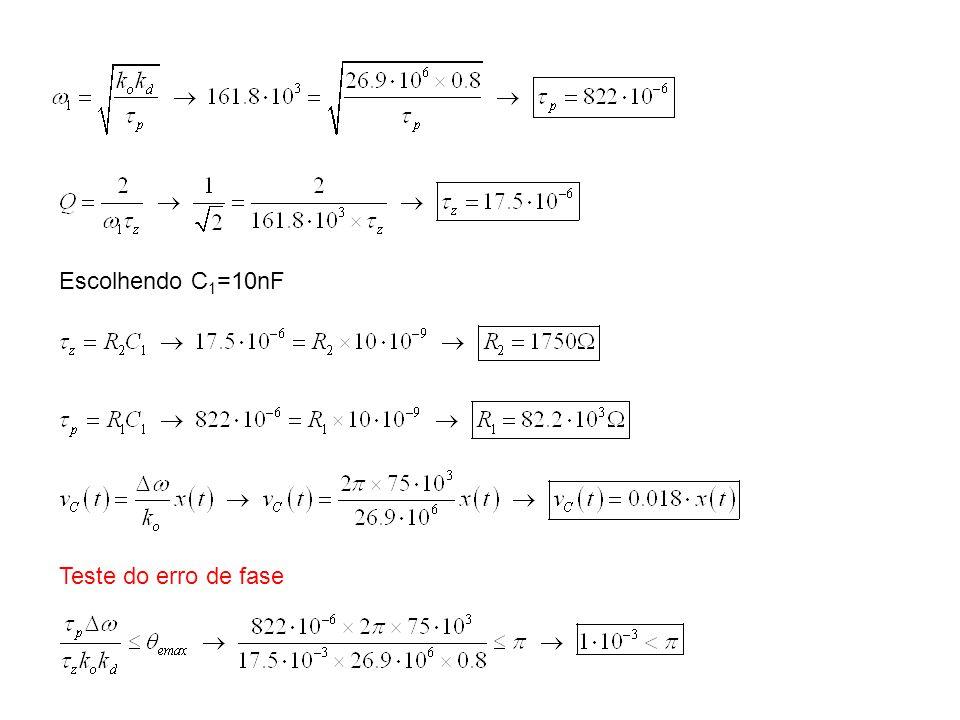 Escolhendo C 1 =10nF Teste do erro de fase