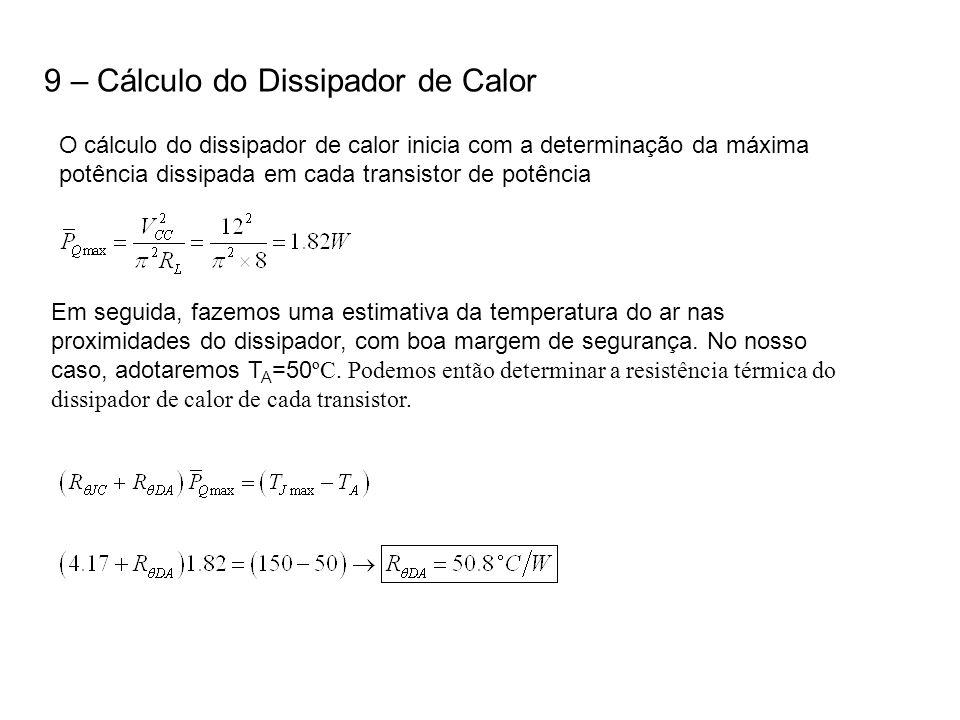 9 – Cálculo do Dissipador de Calor O cálculo do dissipador de calor inicia com a determinação da máxima potência dissipada em cada transistor de potên