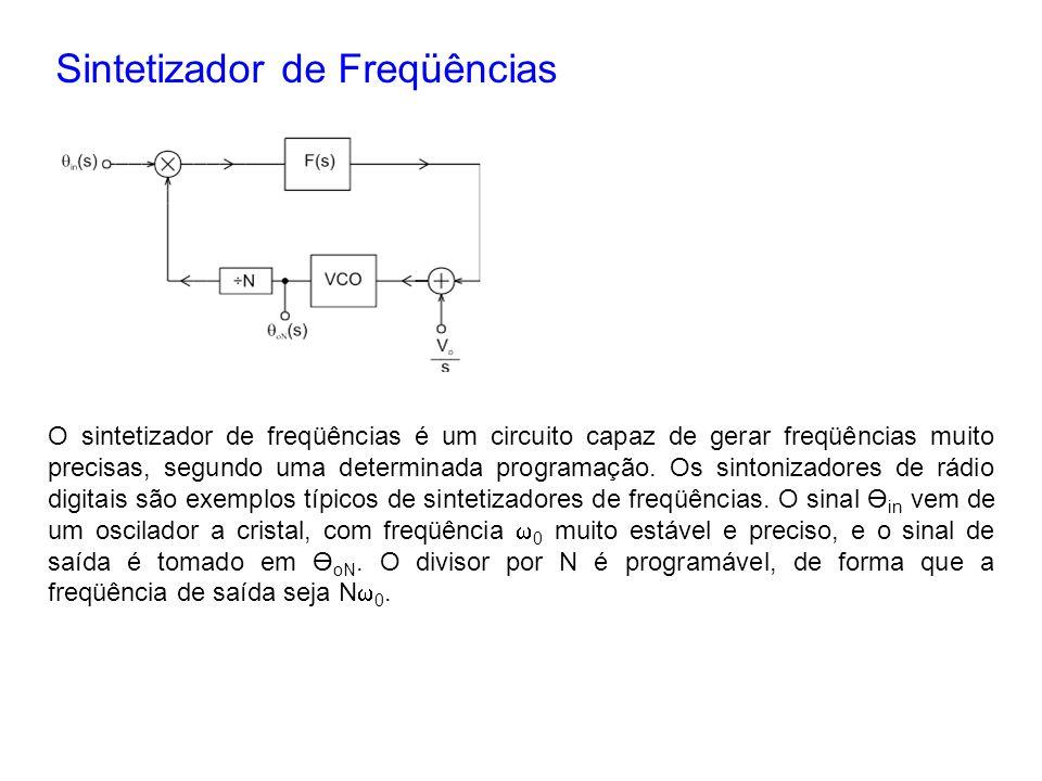 Sintetizador de Freqüências O sintetizador de freqüências é um circuito capaz de gerar freqüências muito precisas, segundo uma determinada programação