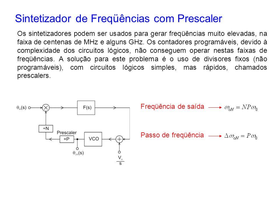 Sintetizador de Freqüências com Prescaler Os sintetizadores podem ser usados para gerar freqüências muito elevadas, na faixa de centenas de MHz e algu