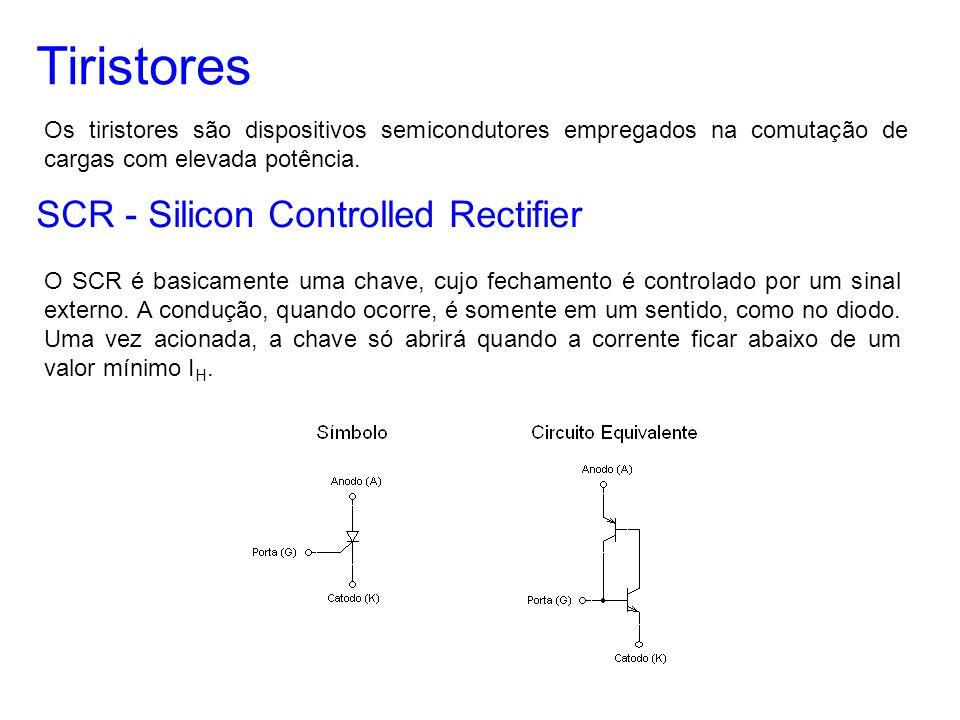 Tiristores Os tiristores são dispositivos semicondutores empregados na comutação de cargas com elevada potência. SCR - Silicon Controlled Rectifier O
