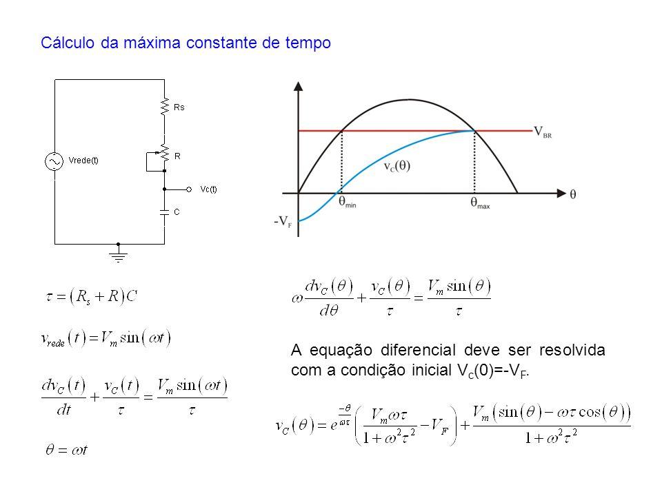 Cálculo da máxima constante de tempo A equação diferencial deve ser resolvida com a condição inicial V c (0)=-V F.