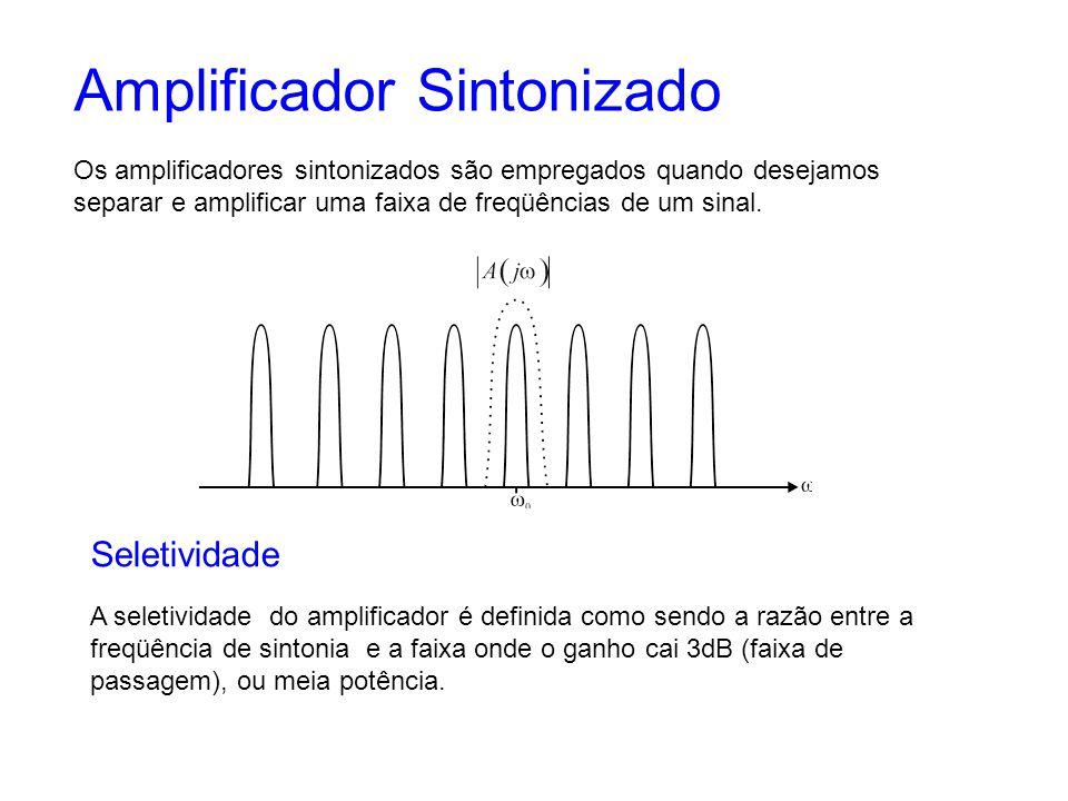 Amplificador Sintonizado Os amplificadores sintonizados são empregados quando desejamos separar e amplificar uma faixa de freqüências de um sinal. Sel