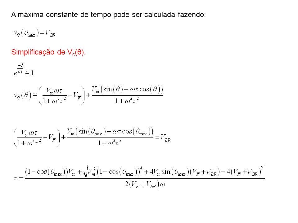 A máxima constante de tempo pode ser calculada fazendo: Simplificação de V c (θ).