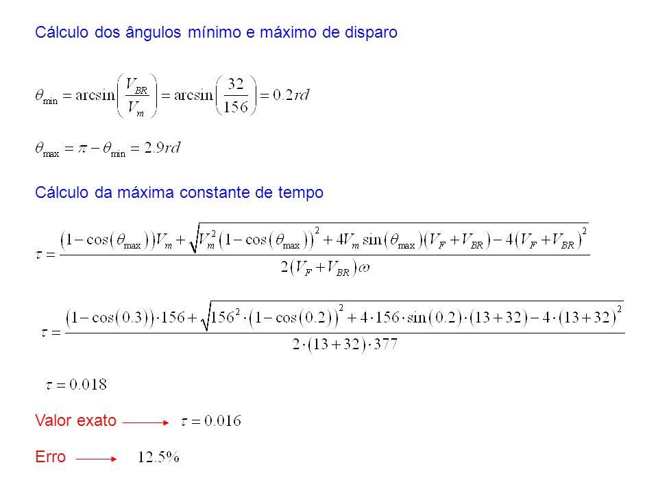 Cálculo dos ângulos mínimo e máximo de disparo Cálculo da máxima constante de tempo Valor exato Erro