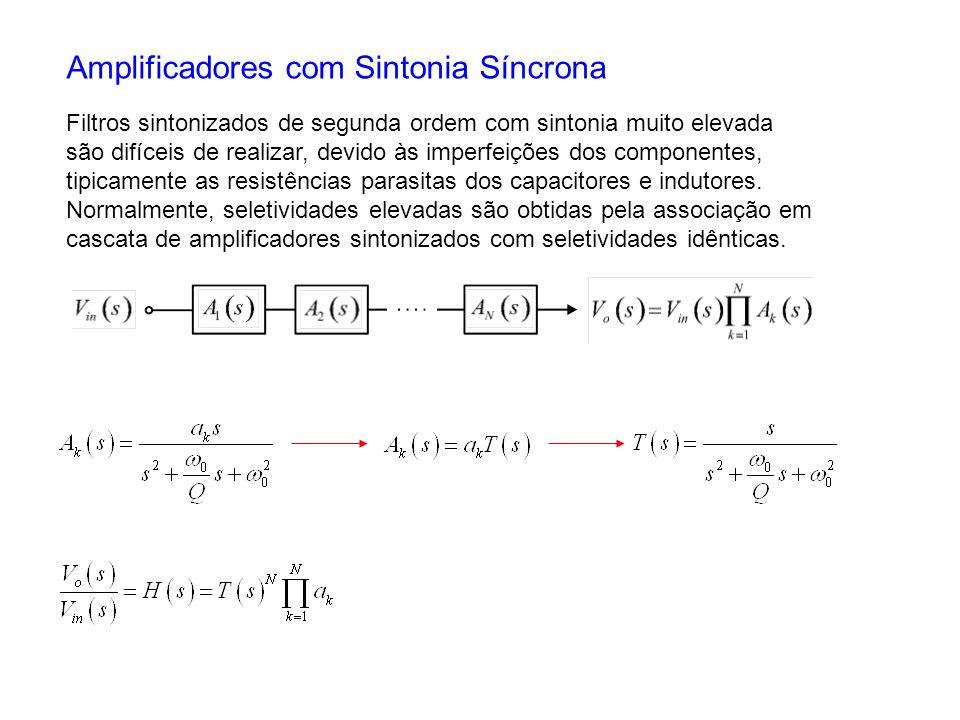 Amplificadores com Sintonia Síncrona Filtros sintonizados de segunda ordem com sintonia muito elevada são difíceis de realizar, devido às imperfeições