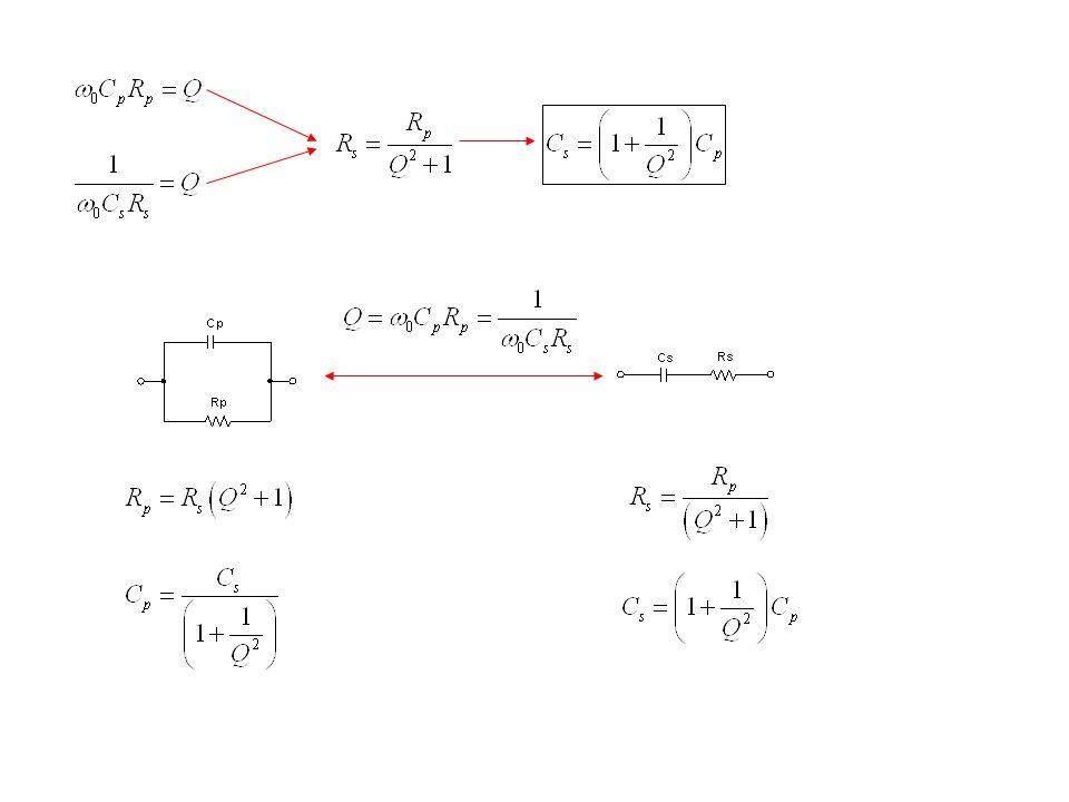 Rede com T de capacitores e indutor Esta rede é empregada quando desejamos fazer o casamento de impedância com uma carga representada por um capacitor em série com resistor.