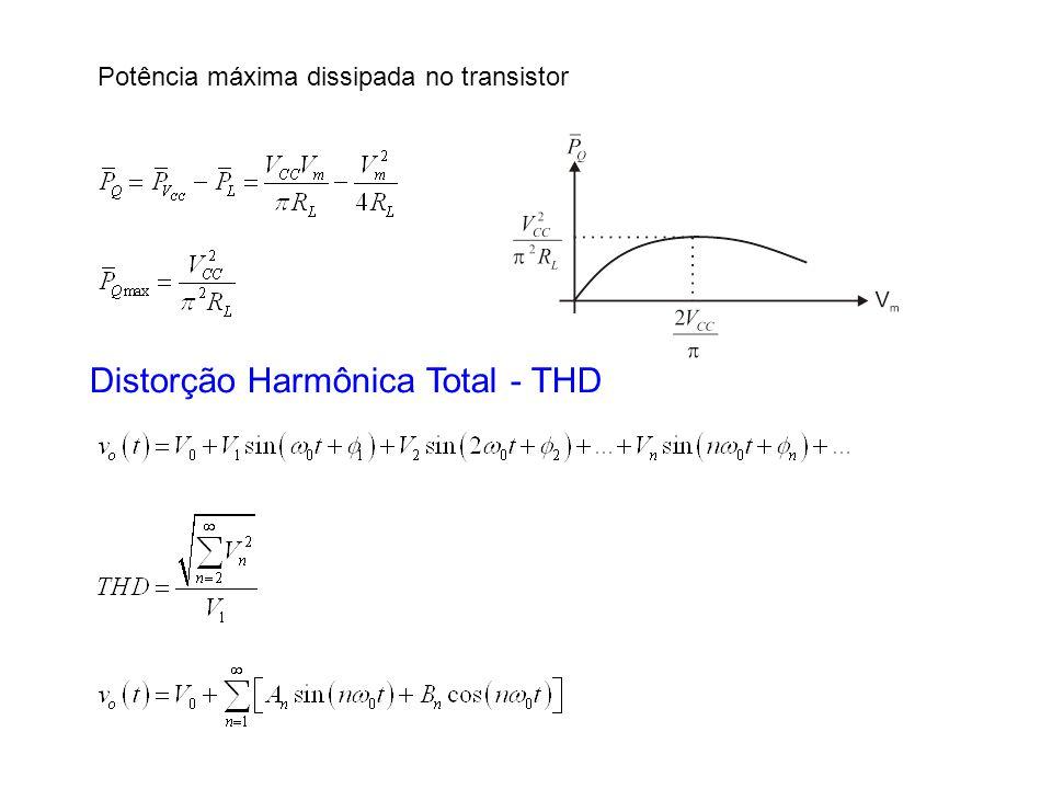 Potência máxima dissipada no transistor Distorção Harmônica Total - THD