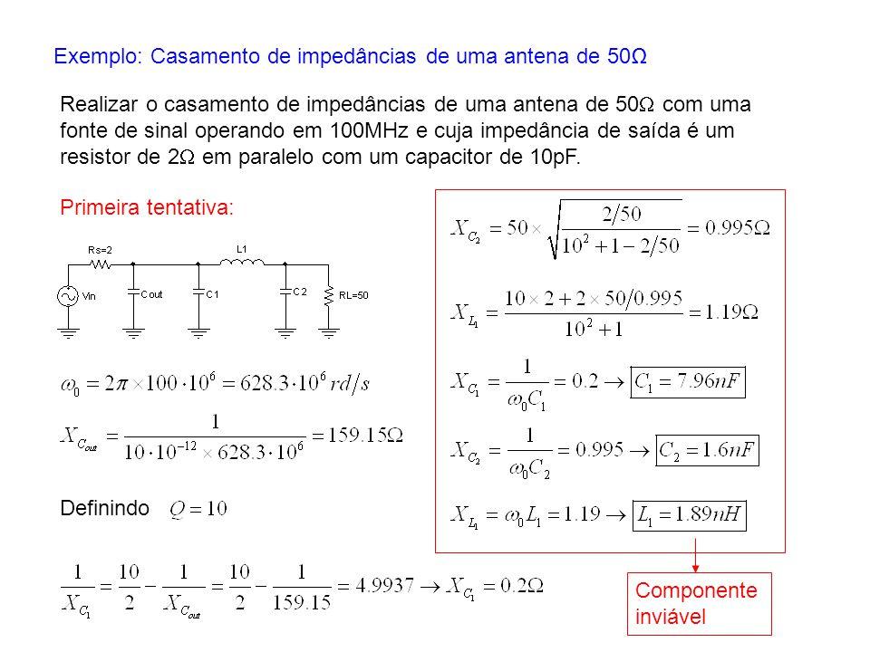 Exemplo: Casamento de impedâncias de uma antena de 50 Realizar o casamento de impedâncias de uma antena de 50 com uma fonte de sinal operando em 100MH