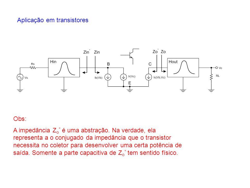 Aplicação em transistores Obs: A impedância Z o * é uma abstração. Na verdade, ela representa a o conjugado da impedância que o transistor necessita n