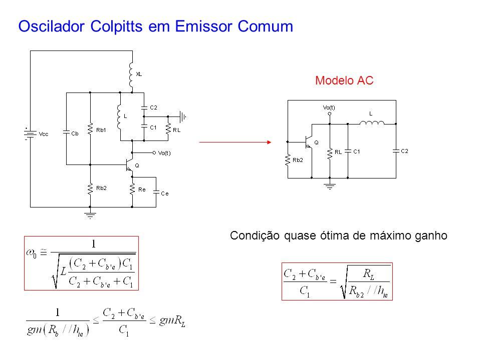 Oscilador Colpitts em Emissor Comum Modelo AC Condição quase ótima de máximo ganho