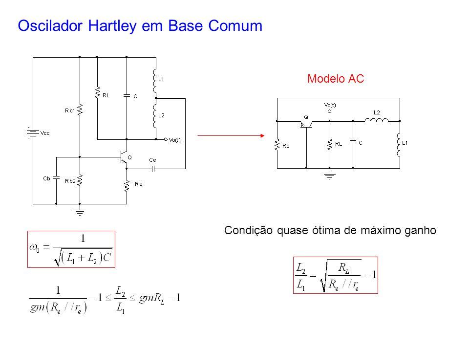Oscilador Hartley em Base Comum Modelo AC Condição quase ótima de máximo ganho