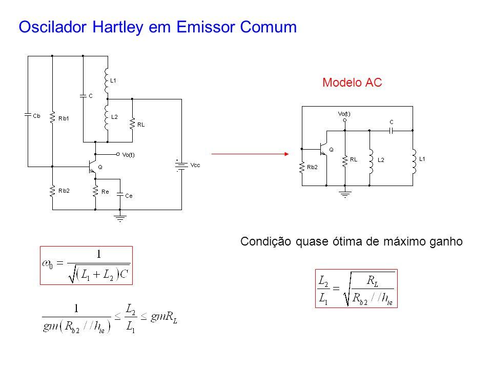 Oscilador Hartley em Emissor Comum Modelo AC Condição quase ótima de máximo ganho