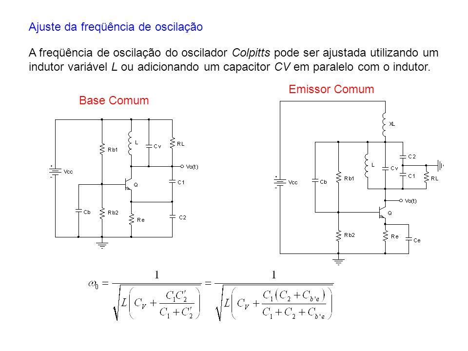 Ajuste da freqüência de oscilação A freqüência de oscilação do oscilador Colpitts pode ser ajustada utilizando um indutor variável L ou adicionando um