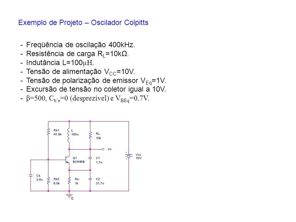 Exemplo de Projeto – Oscilador Colpitts -Freqüência de oscilação 400kHz. -Resistência de carga R L =10k. -Indutância L=100 µH. -Tensão de alimentação