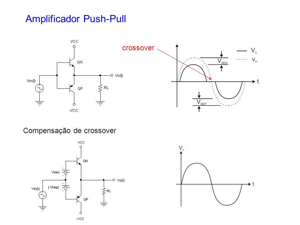 Amplificador Push-Pull crossover Compensação de crossover
