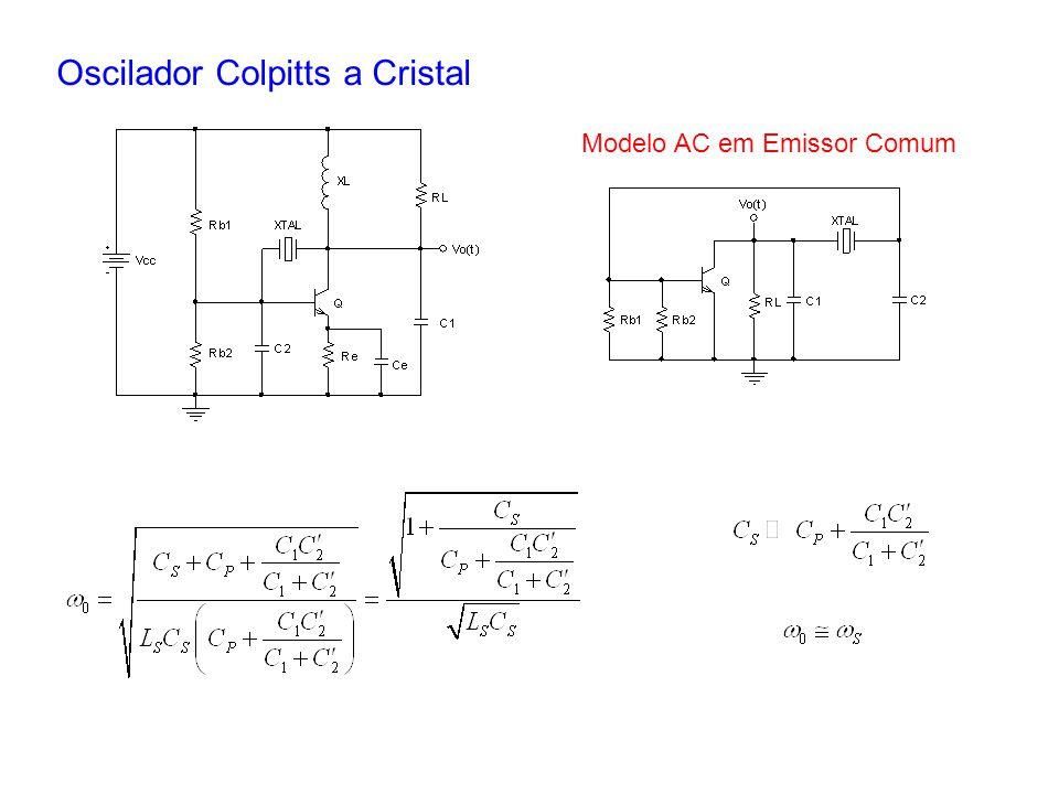 Oscilador Colpitts a Cristal Modelo AC em Emissor Comum