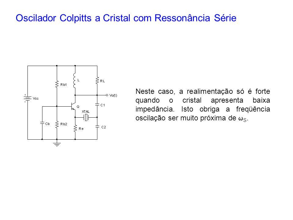Oscilador Colpitts a Cristal com Ressonância Série Neste caso, a realimentação só é forte quando o cristal apresenta baixa impedância. Isto obriga a f