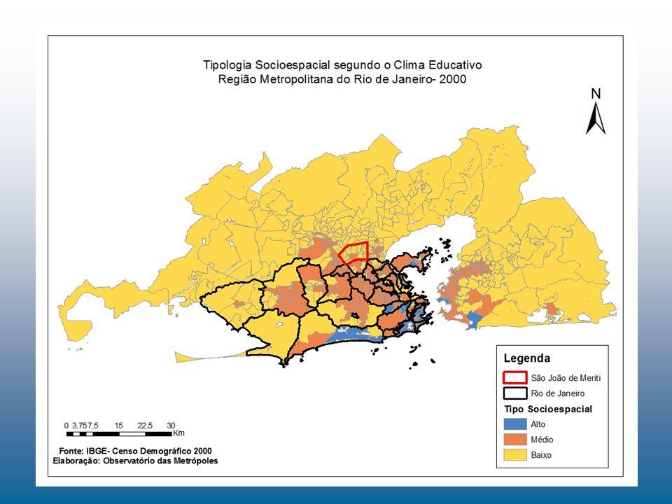 -Os slides anteriores nos mostram que os municípios periféricos da região metropolitana do estado do Rio de janeiro tendem a possuir uma maior concentração de profissionais de baixo status e de adultos com menor escolaridade.