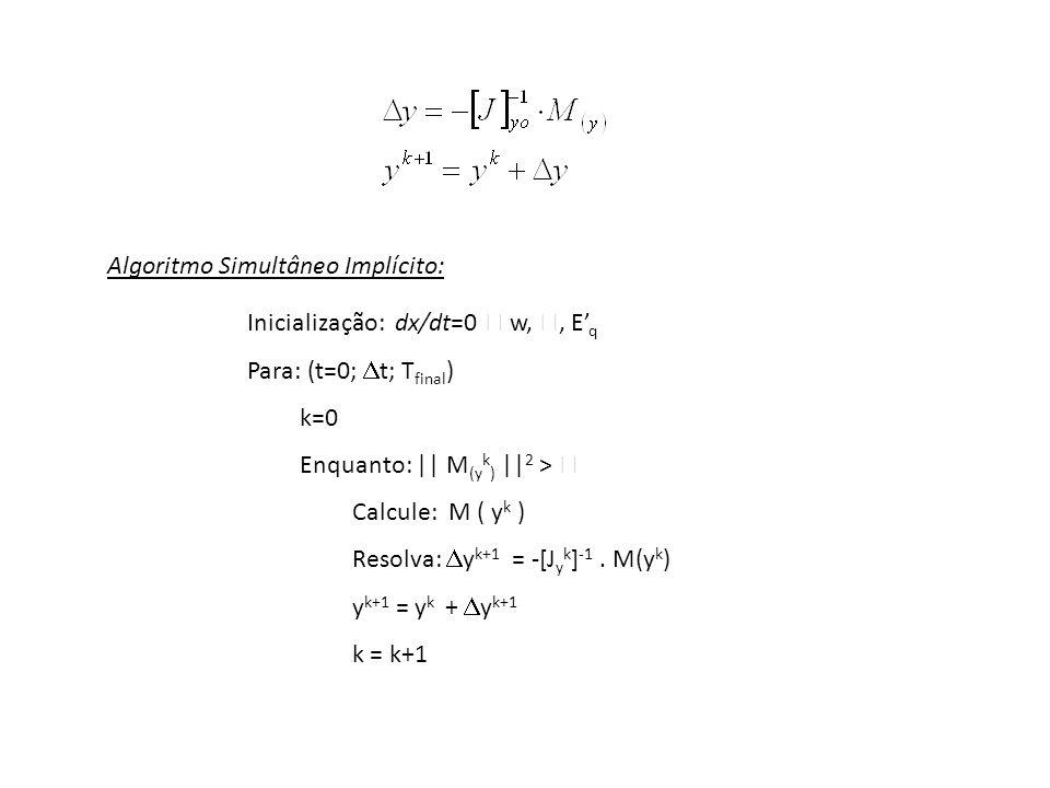 Inicialização: dx/dt=0 w,, E q Para: (t=0; t; T final ) k=0 Enquanto: || M (y k ) || 2 > Calcule: M ( y k ) Resolva: y k+1 = -[J y k ] -1. M(y k ) y k
