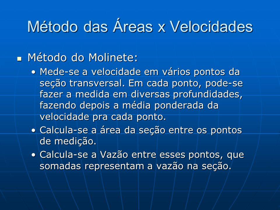Método das Áreas x Velocidades Método do Molinete: Método do Molinete: Mede-se a velocidade em vários pontos da seção transversal. Em cada ponto, pode