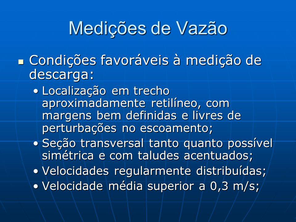 Medições de Vazão Condições favoráveis à medição de descarga: Condições favoráveis à medição de descarga: Localização em trecho aproximadamente retilí