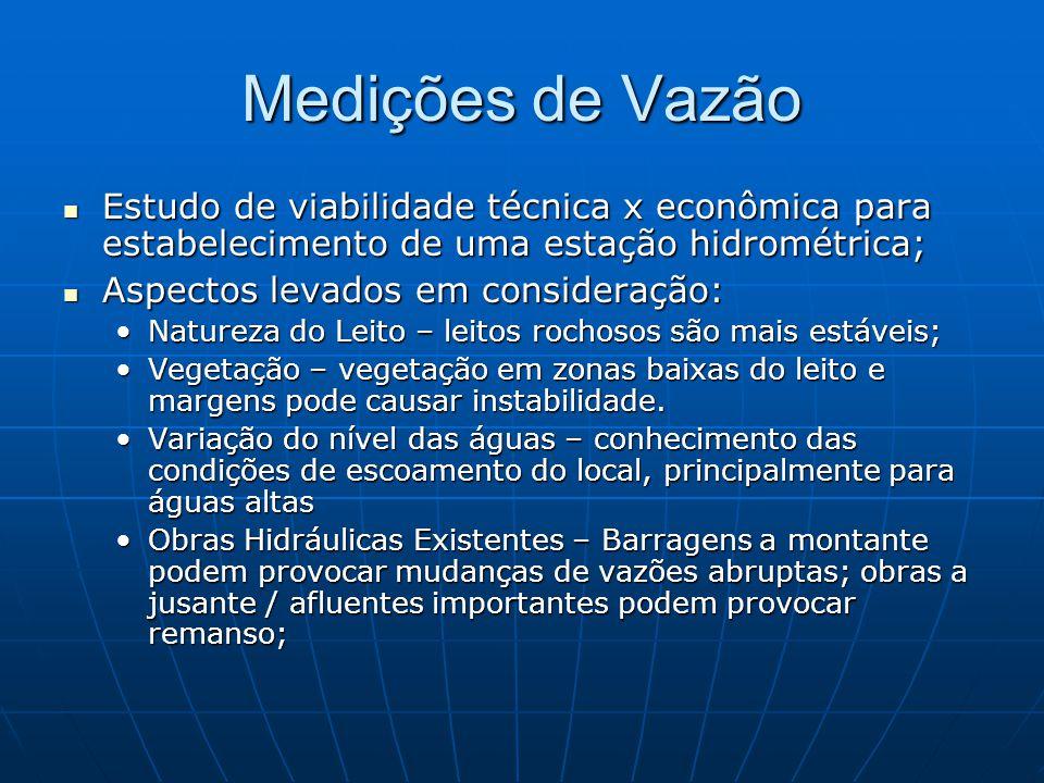 Medições de Vazão Estudo de viabilidade técnica x econômica para estabelecimento de uma estação hidrométrica; Estudo de viabilidade técnica x econômic