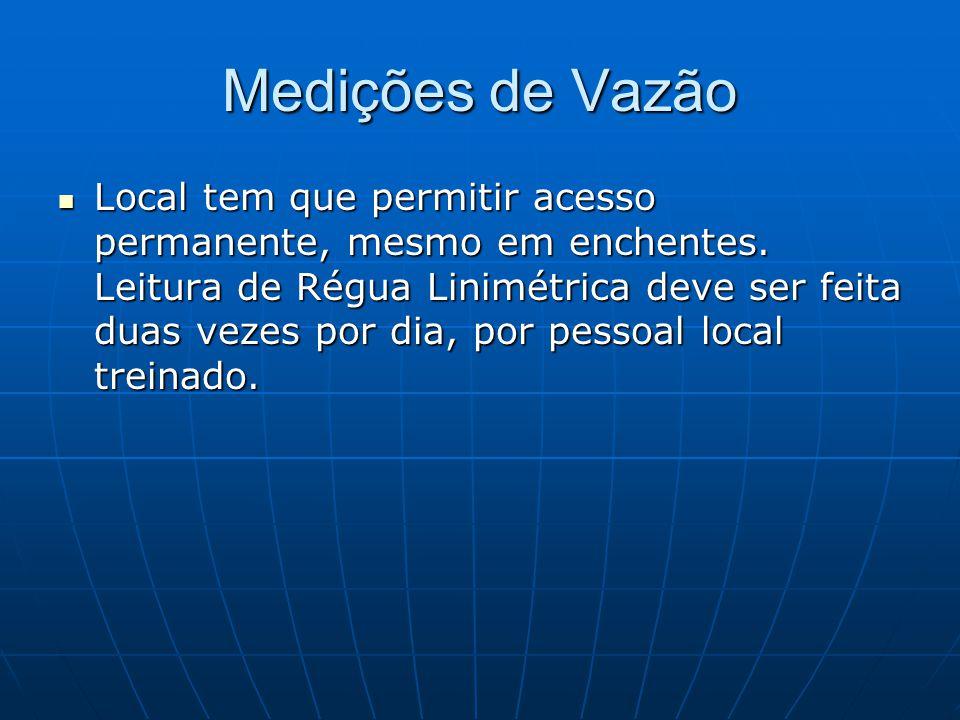 Medições de Vazão Local tem que permitir acesso permanente, mesmo em enchentes. Leitura de Régua Linimétrica deve ser feita duas vezes por dia, por pe