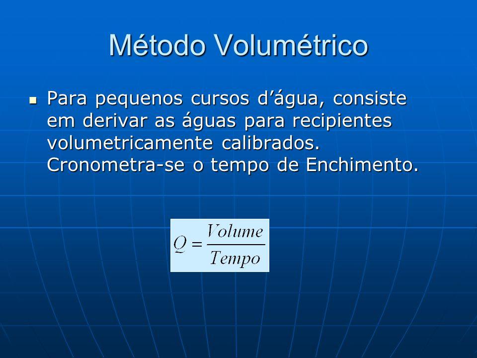Método Volumétrico Para pequenos cursos dágua, consiste em derivar as águas para recipientes volumetricamente calibrados. Cronometra-se o tempo de Enc