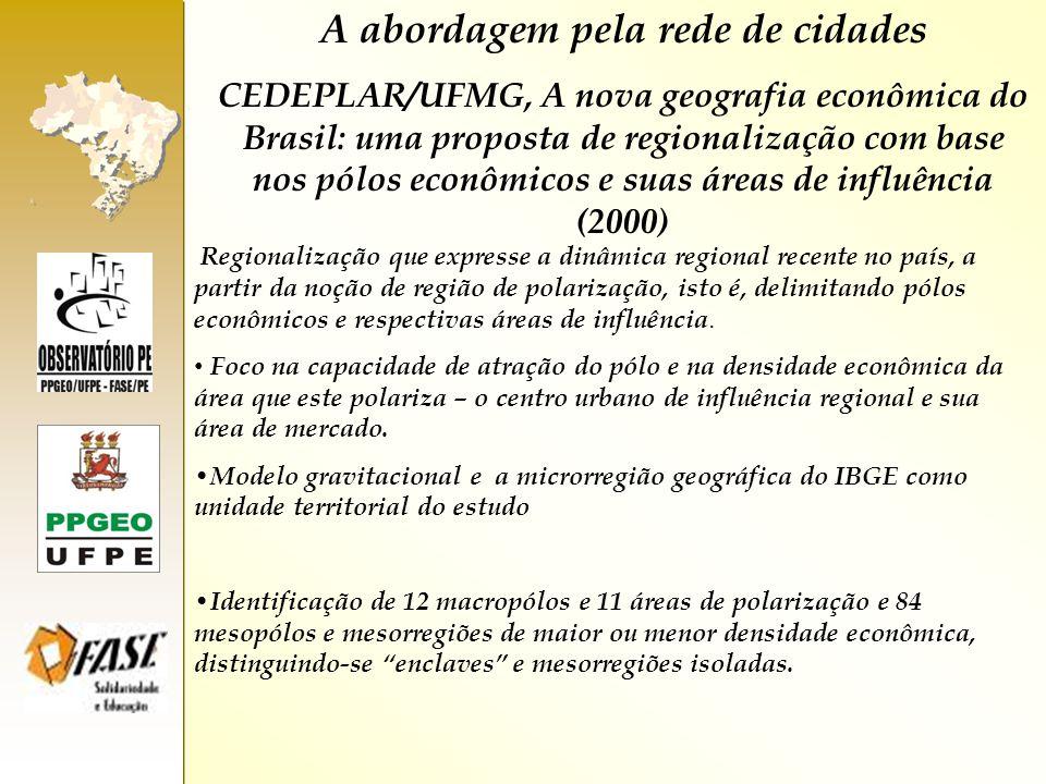 A abordagem pela rede de cidades CEDEPLAR/UFMG, A nova geografia econômica do Brasil: uma proposta de regionalização com base nos pólos econômicos e s