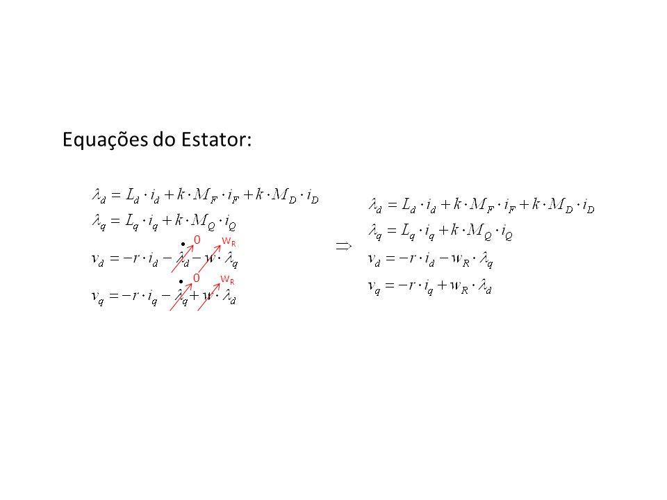 Equações do Estator: em regime permanente (dx/dt = 0) 0 0