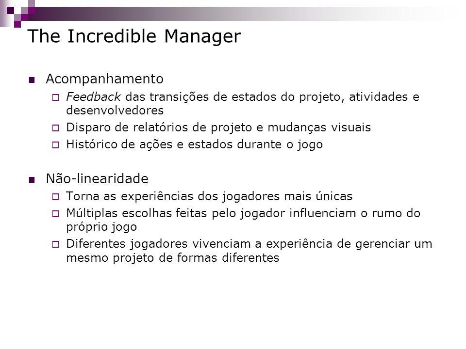 The Incredible Manager Acompanhamento Feedback das transições de estados do projeto, atividades e desenvolvedores Disparo de relatórios de projeto e m