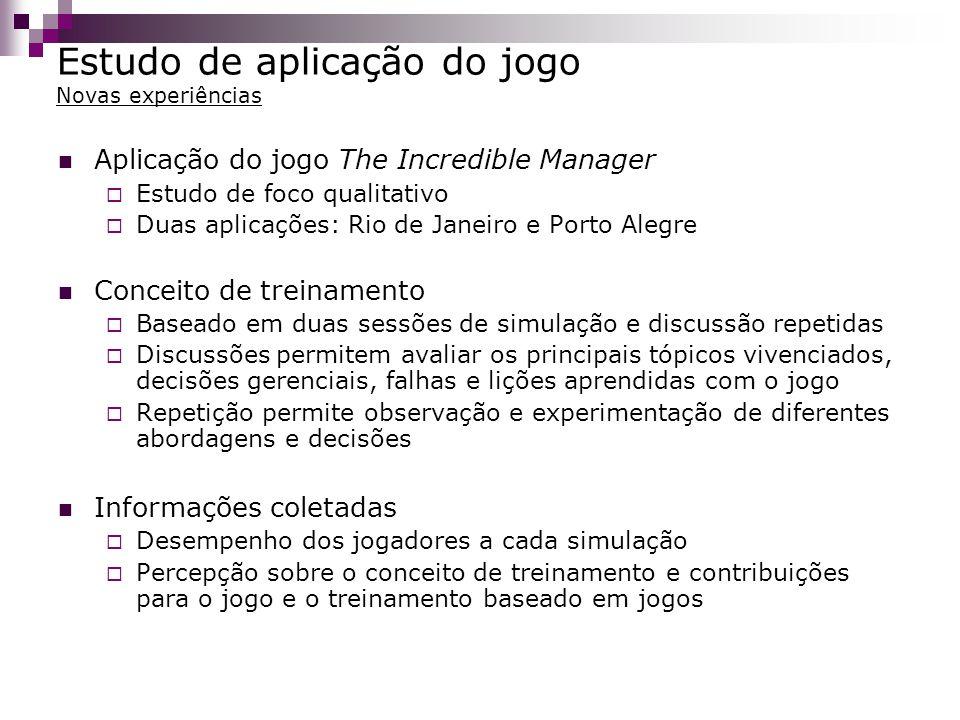 Estudo de aplicação do jogo Novas experiências Aplicação do jogo The Incredible Manager Estudo de foco qualitativo Duas aplicações: Rio de Janeiro e P
