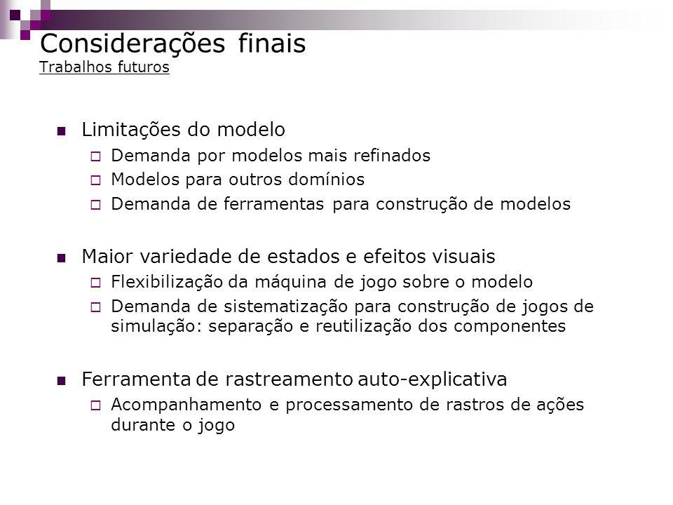 Considerações finais Trabalhos futuros Limitações do modelo Demanda por modelos mais refinados Modelos para outros domínios Demanda de ferramentas par
