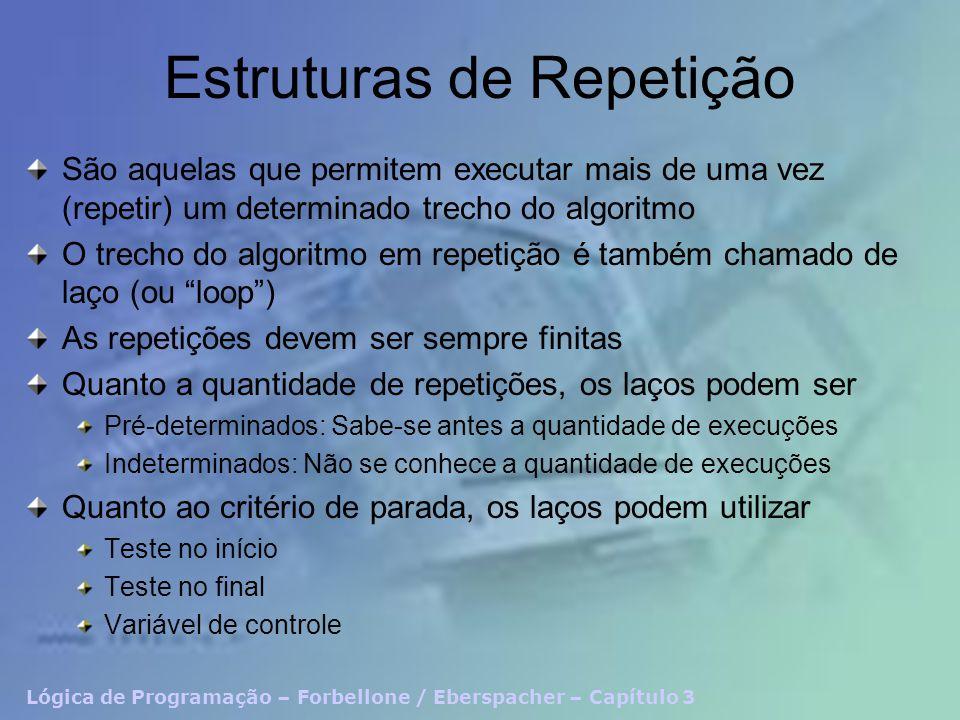 Lógica de Programação – Forbellone / Eberspacher – Capítulo 3 Estruturas de Repetição São aquelas que permitem executar mais de uma vez (repetir) um determinado trecho do algoritmo O trecho do algoritmo em repetição é também chamado de laço (ou loop) As repetições devem ser sempre finitas Quanto a quantidade de repetições, os laços podem ser Pré-determinados: Sabe-se antes a quantidade de execuções Indeterminados: Não se conhece a quantidade de execuções Quanto ao critério de parada, os laços podem utilizar Teste no início Teste no final Variável de controle