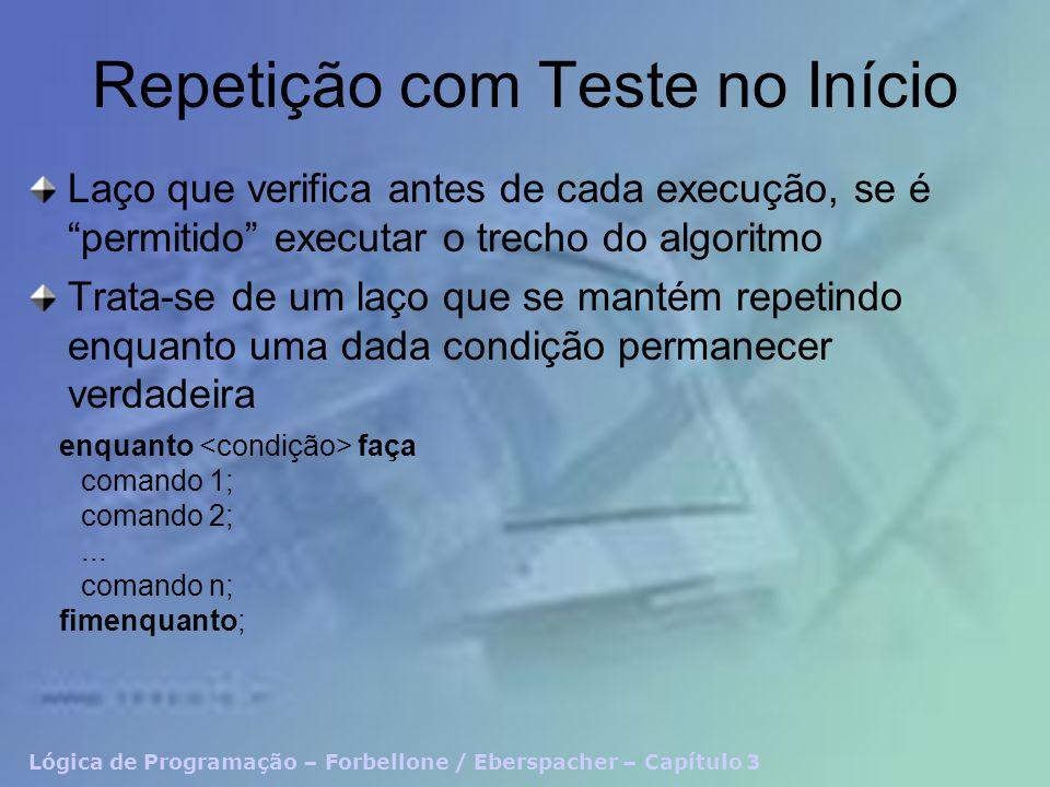 Lógica de Programação – Forbellone / Eberspacher – Capítulo 3 Repetição com Teste no Início Laço que verifica antes de cada execução, se é permitido e