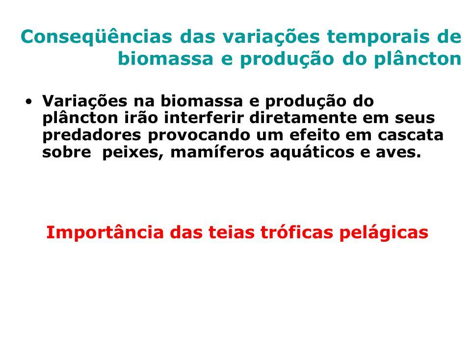 Conseqüências das variações temporais de biomassa e produção do plâncton Variações na biomassa e produção do plâncton irão interferir diretamente em s