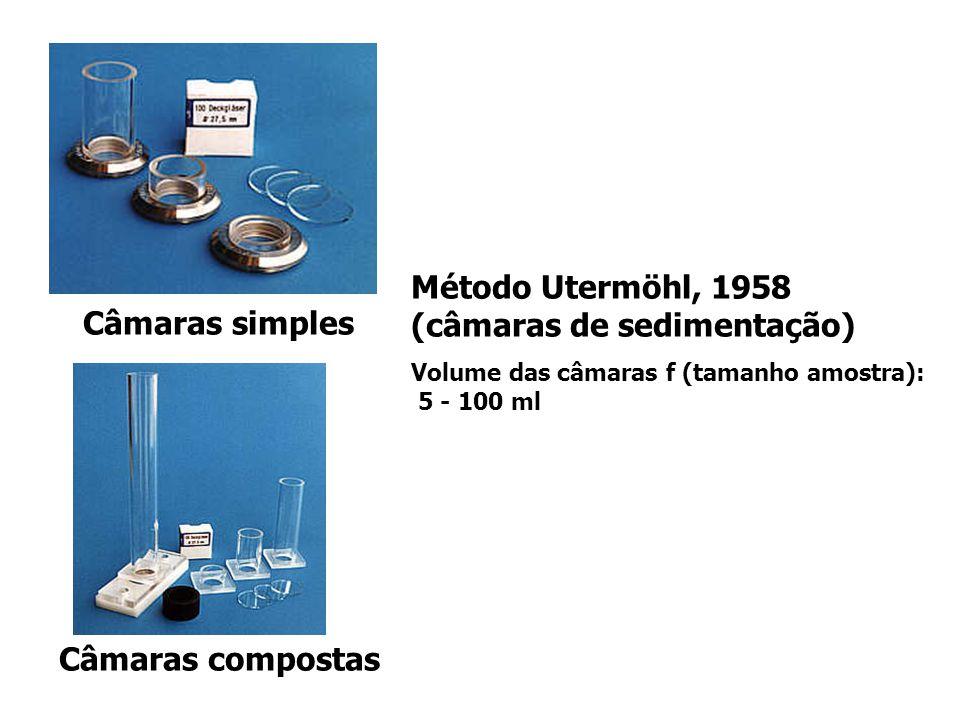 Método Utermöhl, 1958 (câmaras de sedimentação) Volume das câmaras f (tamanho amostra): 5 - 100 ml Câmaras simples Câmaras compostas