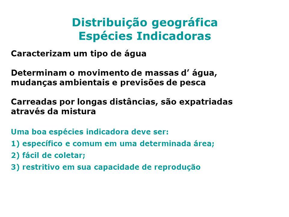 Distribuição geográfica Espécies Indicadoras Caracterizam um tipo de água Determinam o movimento de massas d água, mudanças ambientais e previsões de