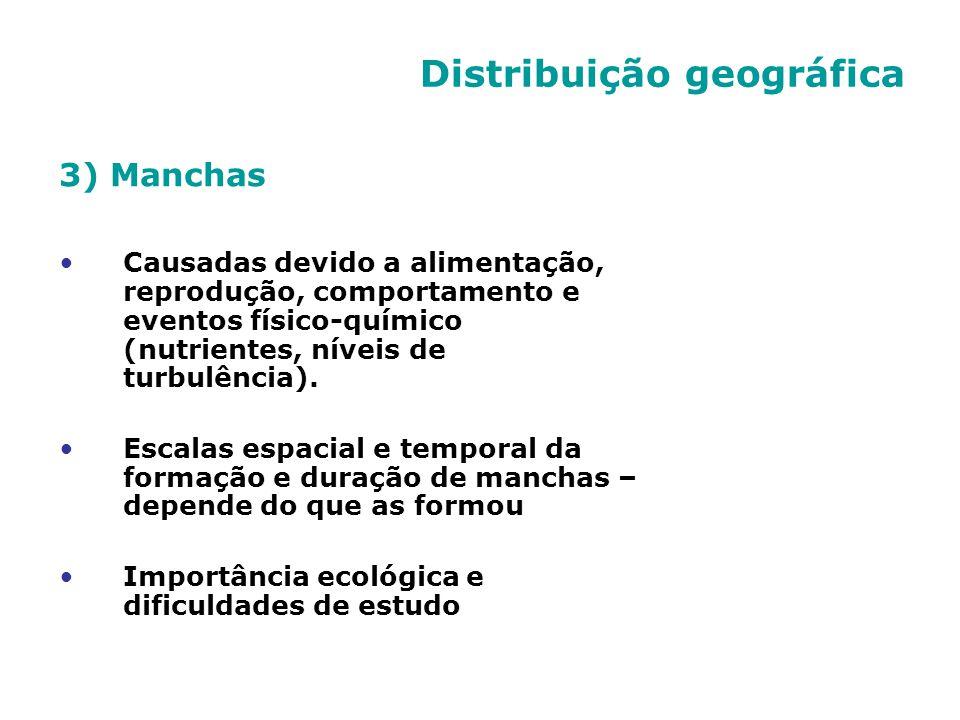 Distribuição geográfica 3) Manchas Causadas devido a alimentação, reprodução, comportamento e eventos físico-químico (nutrientes, níveis de turbulênci