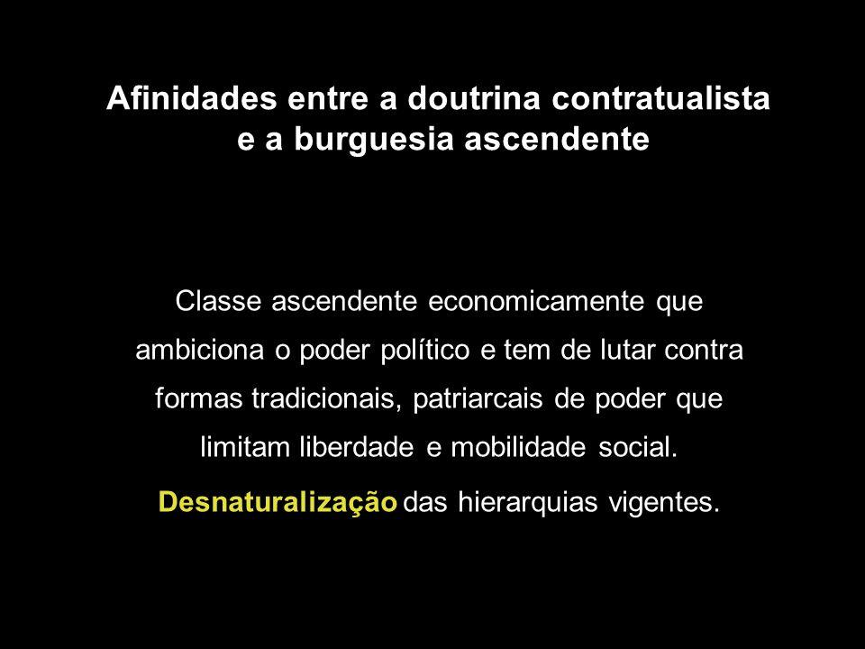 Afinidades entre a doutrina contratualista e a burguesia ascendente Classe ascendente economicamente que ambiciona o poder político e tem de lutar con