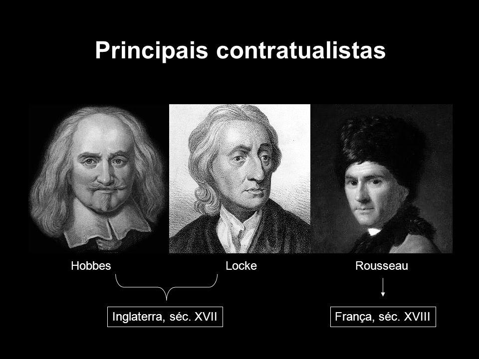 HobbesLockeRousseau Principais contratualistas Inglaterra, séc. XVIIFrança, séc. XVIII