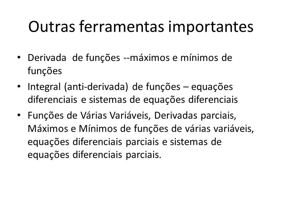 Outras ferramentas importantes Derivada de funções --máximos e mínimos de funções Integral (anti-derivada) de funções – equações diferenciais e sistem