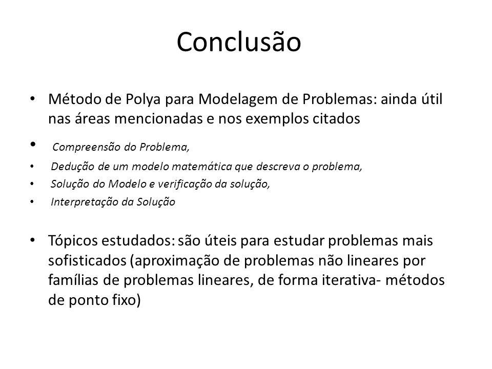 Conclusão Método de Polya para Modelagem de Problemas: ainda útil nas áreas mencionadas e nos exemplos citados Compreensão do Problema, Dedução de um