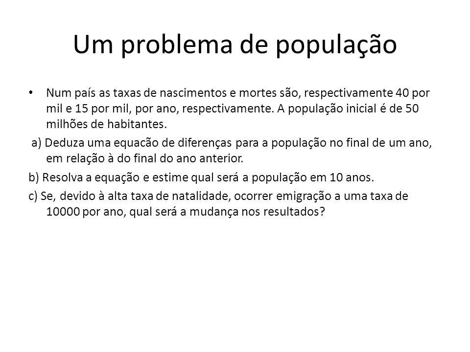 Solução do Problema P n =P n-1 +4/100 P n-1 -1.5/100 P n-1, P 0 = 50 milhões P n = (102.5/100) n P 0 = (102.5/100) n 50 milhões P 10 =(102.5) 10.50.10 6 /(100) 10 =64.