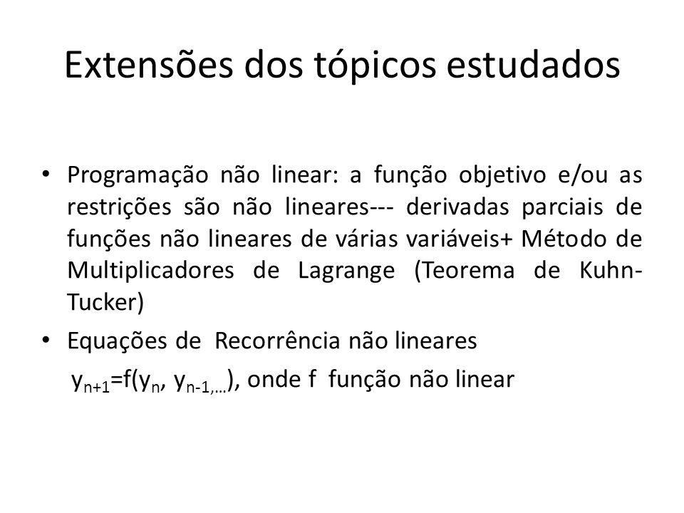 Extensões dos tópicos estudados Programação não linear: a função objetivo e/ou as restrições são não lineares--- derivadas parciais de funções não lin
