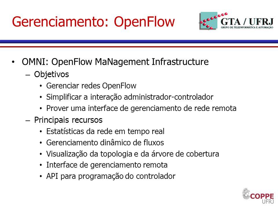 Gerenciamento: OpenFlow OMNI: OpenFlow MaNagement Infrastructure – Objetivos Gerenciar redes OpenFlow Simplificar a interação administrador-controlado